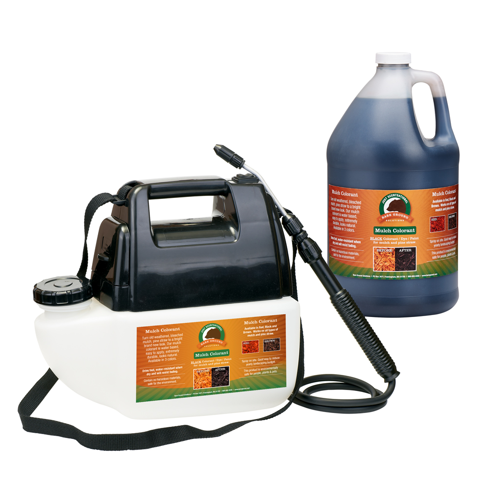 Just Scentsational Black Bark Mulch Colorant in a one gallon battery powered sprayer