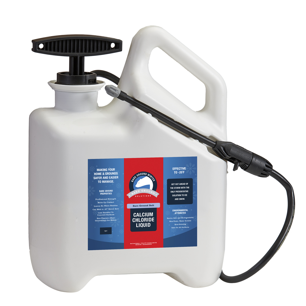 Bare Ground Bolt Liquid Calcium Chloride One Gallon with Pump Sprayer